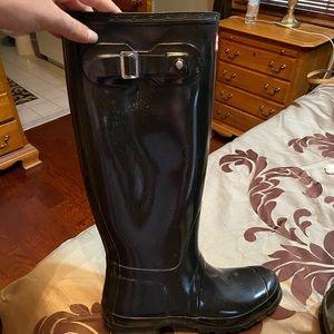 Tall black shiny hunter boots size 10